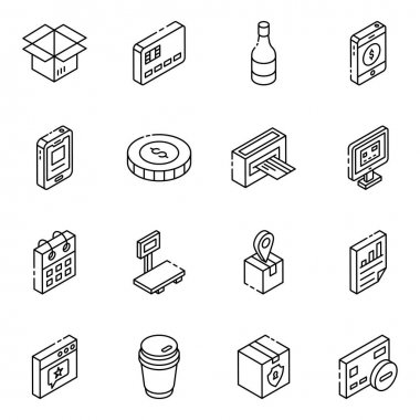 Set of 9 isometric icons of food, vector illustration icon