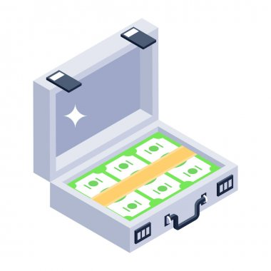 Isometric vector illustration of a box of a white and green energy icon