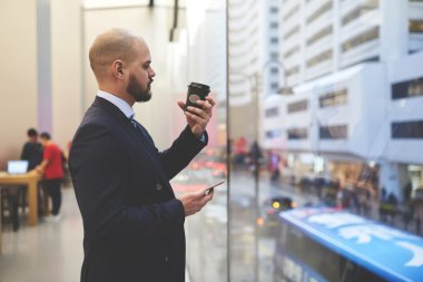 Young man lawyer with mobile telephone