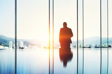 Silhouette of man entrepreneur