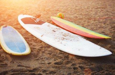 Surfboards lying on the beach