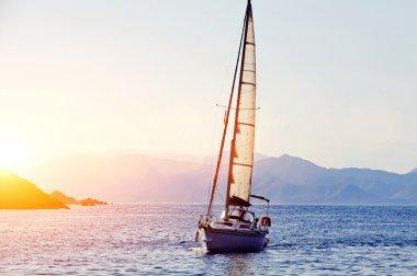 racing yacht in the Mediterranean sea