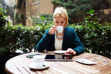 businesswoman while coffee break
