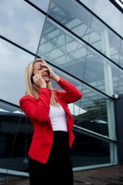 businesswoman having conversation on phone