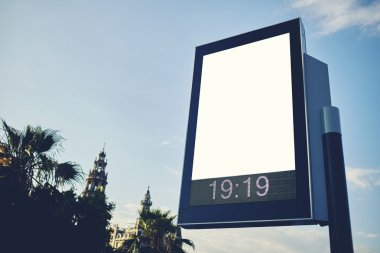 Blank billboard with copy space blurred