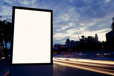 blank billboard with copy space on dusk