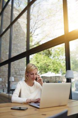 Female freelancer at distance work