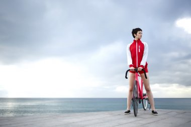 female cyclist resting after ride