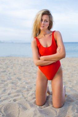 Sexy bikini model on the beach