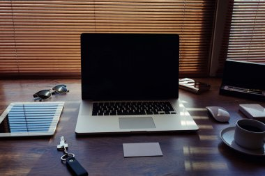 Desktop with accessories and work tools