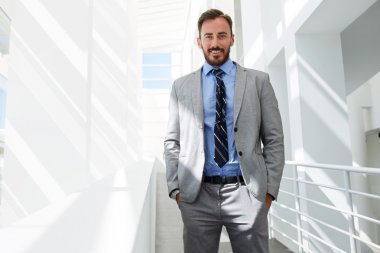 Smiling businessman posing in luxury suit