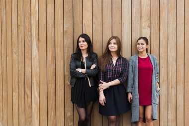 Tree young trendy women posing