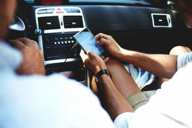 man using navigation on mobile phone