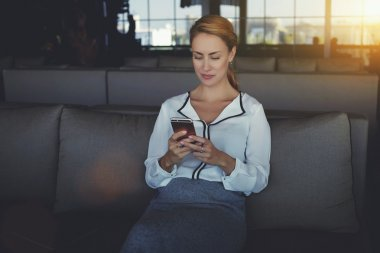 Female writing text message