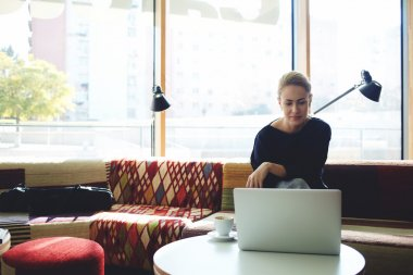 woman sitting in cafe with laptop