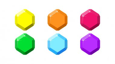 Hexagon colorful gemstones. Ruby, emerald, amethyst, diamond and quartz top view. Cartoon vector illustration icon
