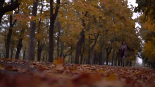 Happy woman running to camera, walking in autumn park, enjoying weather in city