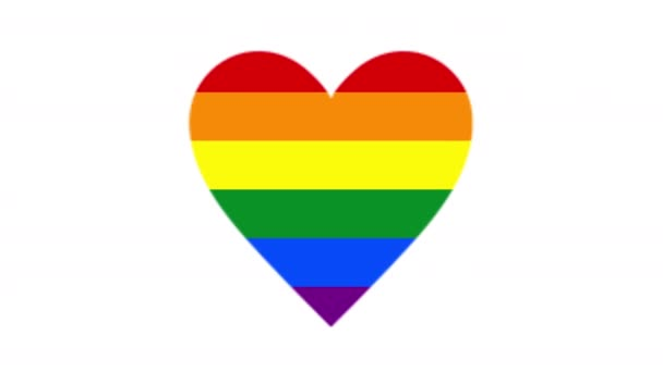 Heart shape, LGBT flag animation. LGBT pride month 2021 concept. Love is love.