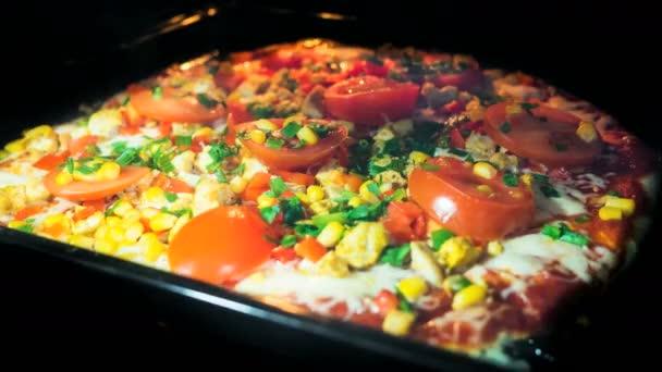 Timelapse pizzy pečení plné zahřátí trouby 4k