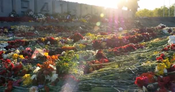 Květiny, které jsou umístěny na památku vítězství den světové války 2, 4k