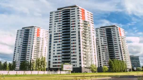 Apartment buildings. Multistoried modern and stylish living block of flats. 4k