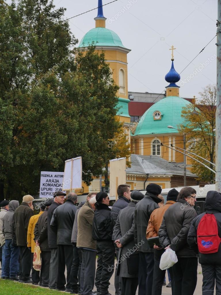 RIGA, LATVIA OCTOBER 16,2014 Civil people are voting against Nazi in Ukraine beside academy of science in October 16, 2014 Riga, Latvia
