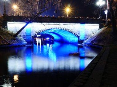 night view of small bridge