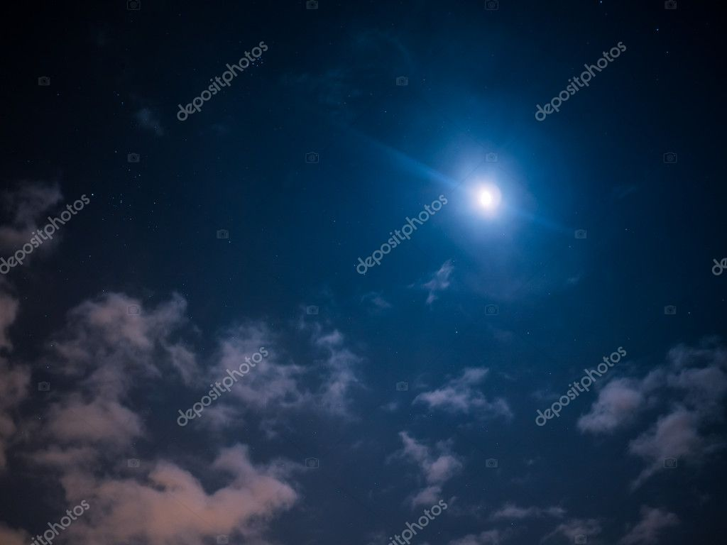 Night sly with stars and moon
