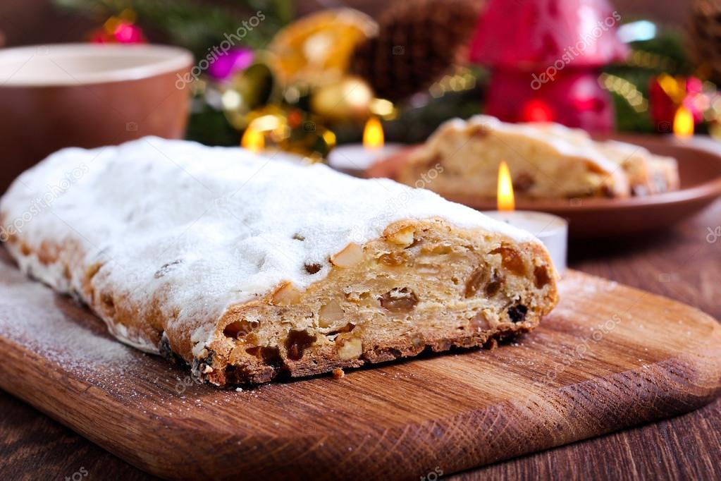 german christmas cake stock photo