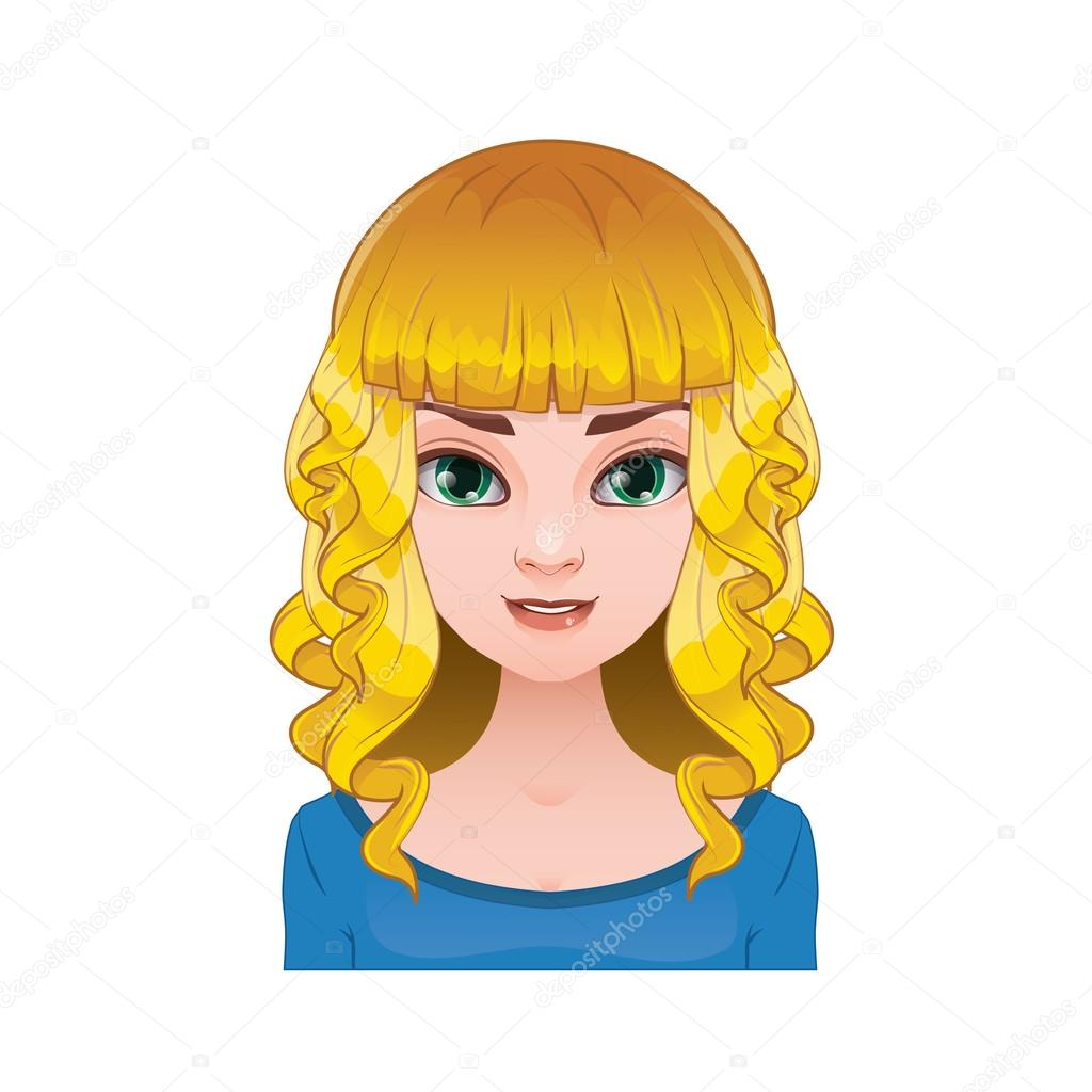 Blonde Woman With Pigtails With Curly Hair Stock Vector