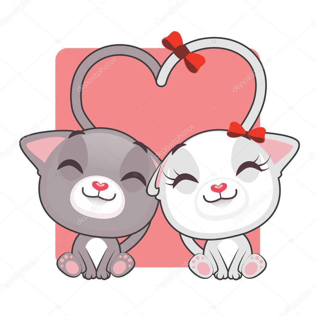 Dibujos Animados De Gatitos Enamorados Archivo Imágenes
