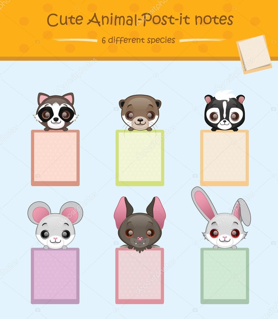 cute post it notes with animals stock vector agnessz 82486878