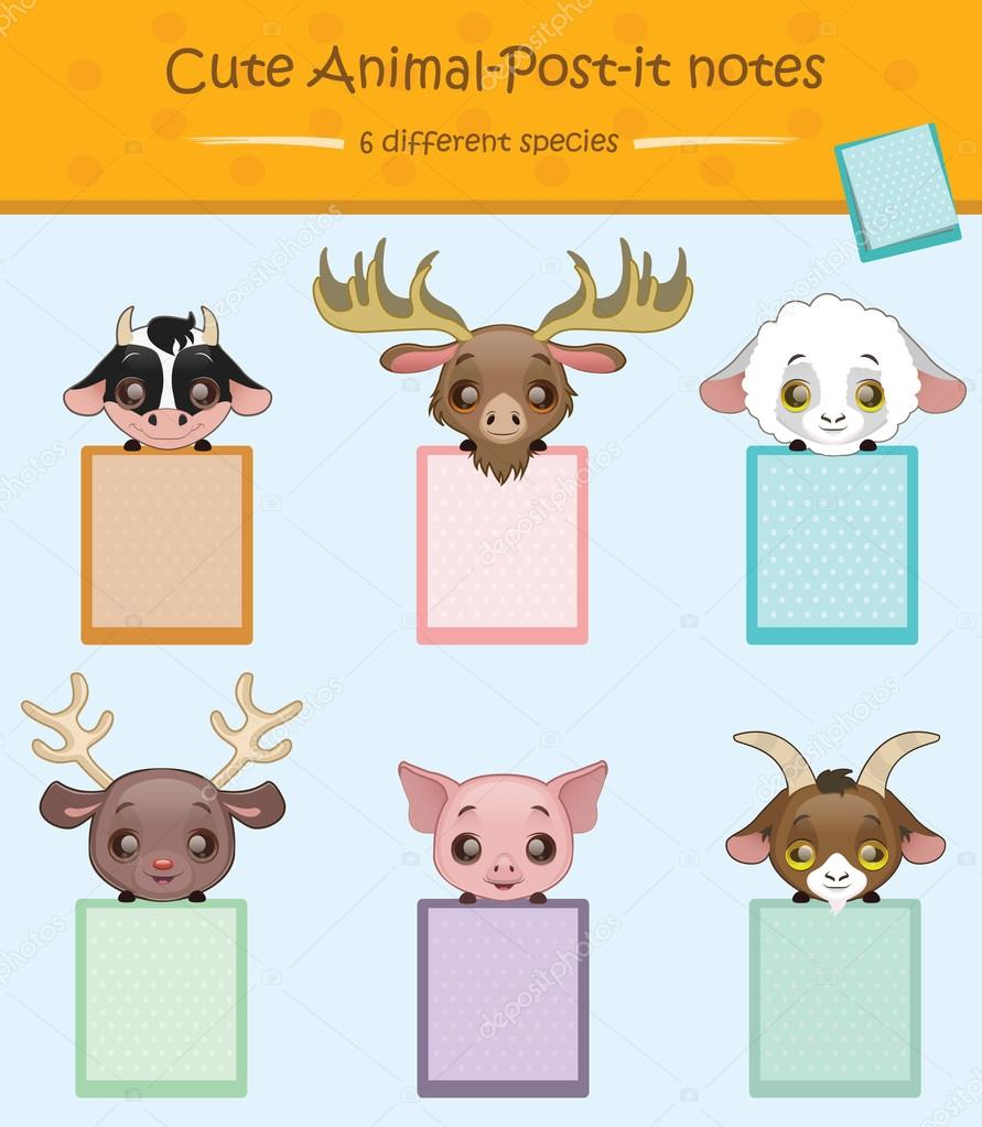 cute animal post it notes stock vector agnessz 82486884