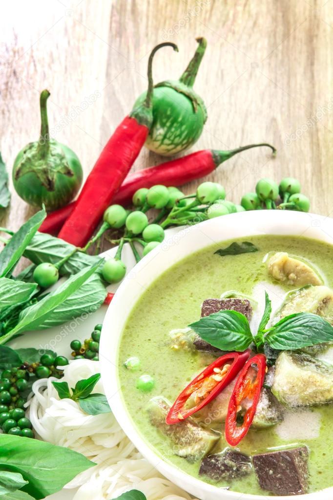 Kremowe Mleko Kokosowe Zielone Curry Z Kurczaka Popularne Kuchni