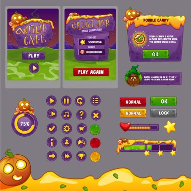 Interface game design (resource bar and resource icons for games) theme Halloween