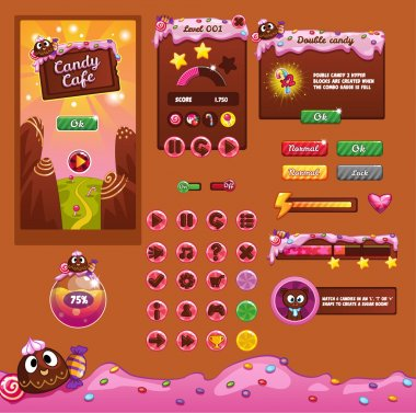 Interface game design (resource bar and resource icons for games) theme candy