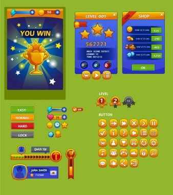 The elements of the game interface (The elements of the game interface) clip art vector