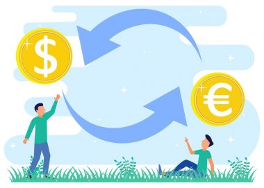Vector illustration of modern business concept style. Currency exchange, online money transactions, stock trading icon set. Open banking platform, stock market metaphor. icon