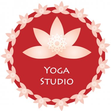 Yoga ornamental emblem. Vector lineart logo template for relax or spa center, yoga studio, healthcare and traditional medicine