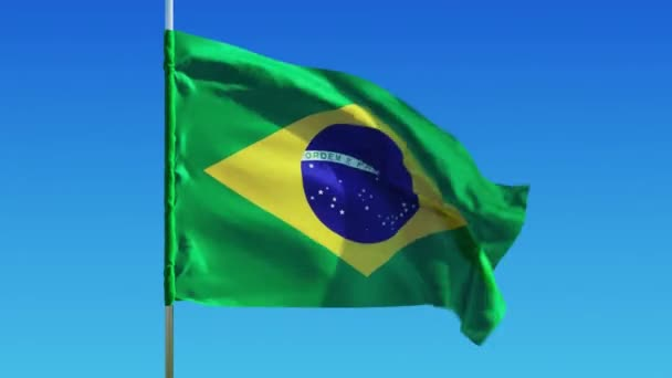 Brazil flag on a background of clear sky