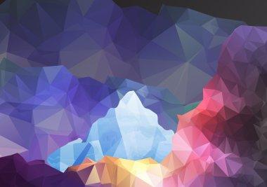 Geometric Fantasy Mountain Background - Vector Illustration