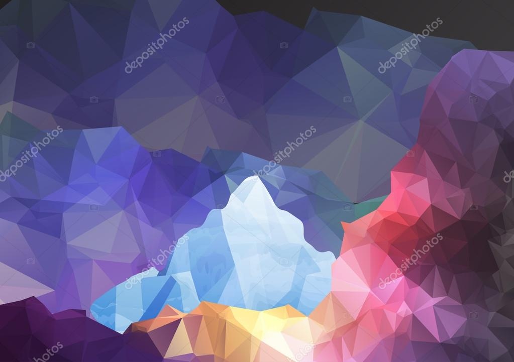 Geometric Fantasy Mountain Background - Vector Illustration