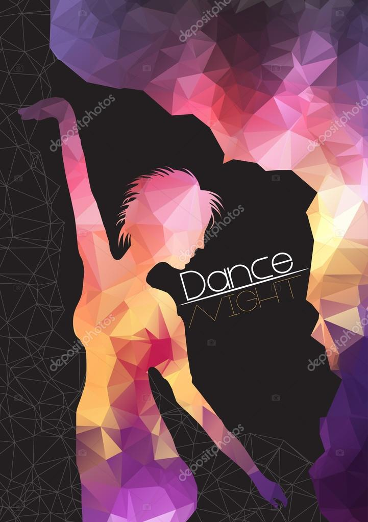 Silhouette of Dancing Woman on Abstract Background Party Flyer Template - Vector Illustration