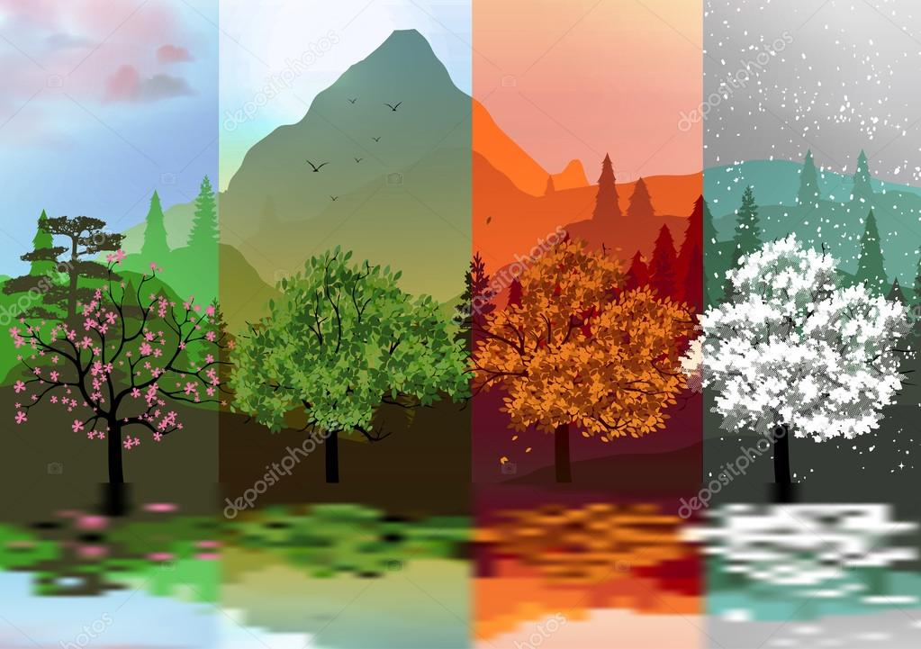 Four Seasons Banners with Abstract Forest and Mountains, Lake Reflection - Vector Illustration
