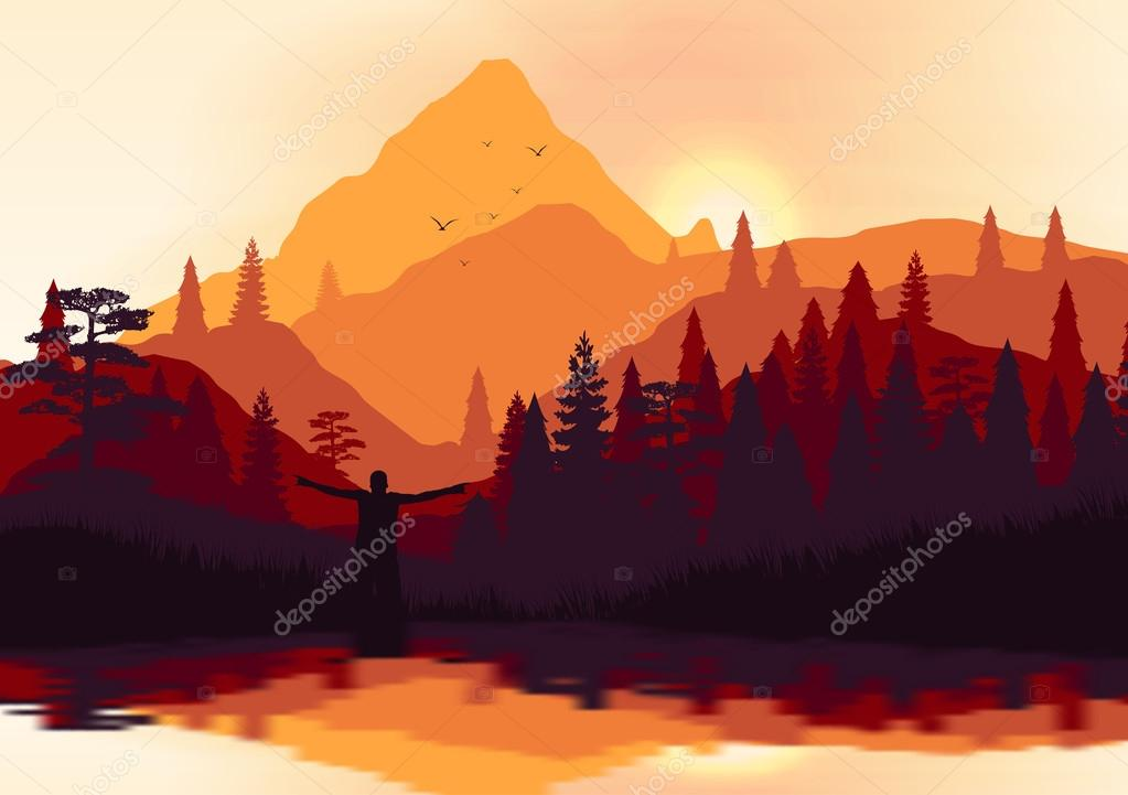 Golden Sunset Panorama of Mountain Ridges and Pine Forest with Lake Reflection - Vector Illustration