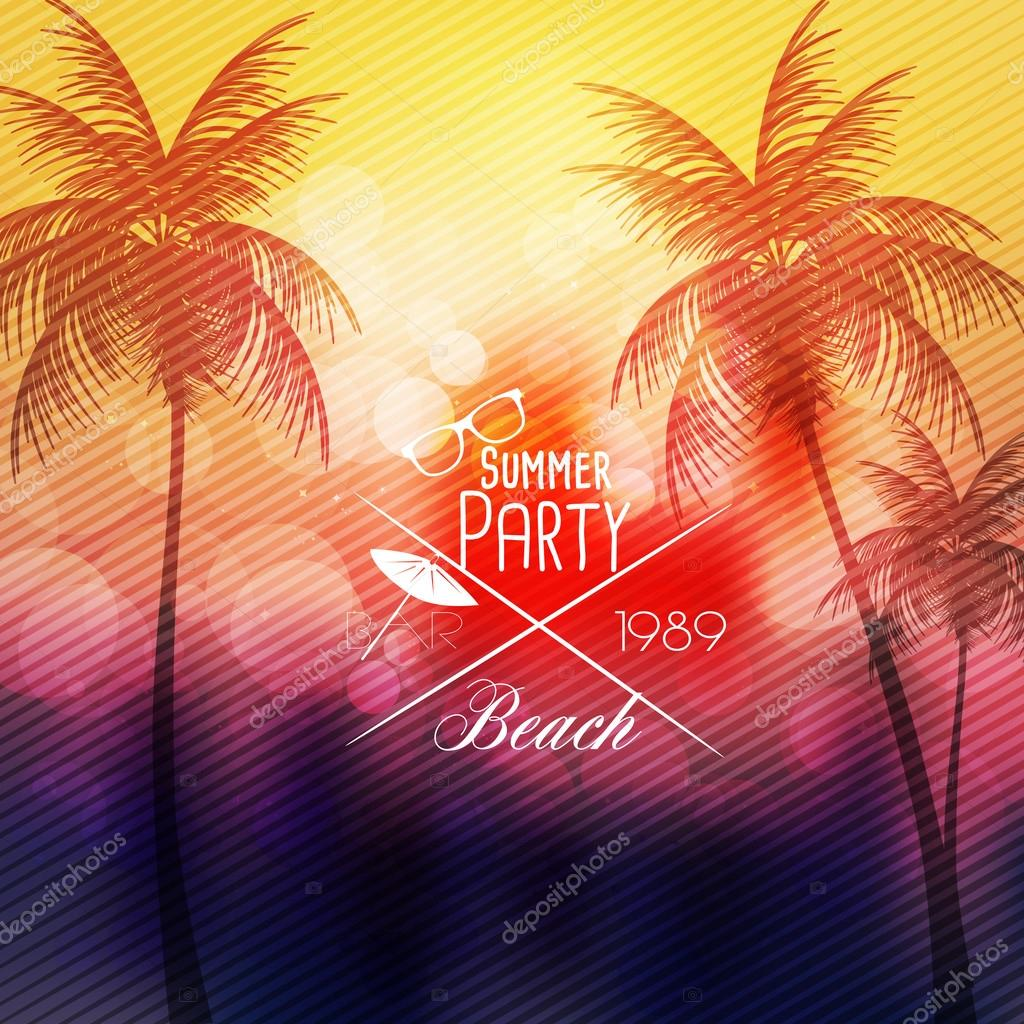 Summer Beach Party Flyer Template - Vector Illustration — Stock ...