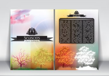 Abstract Flyer Brochure Design Template Four Seasons Banners with Abstract Trees - Vector Illustration