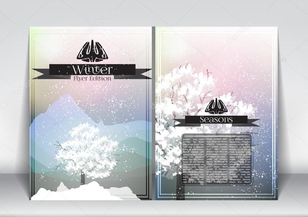 Abstract Flyer Brochure Design Template of Winter Season with Abstract Trees - Vector Illustration
