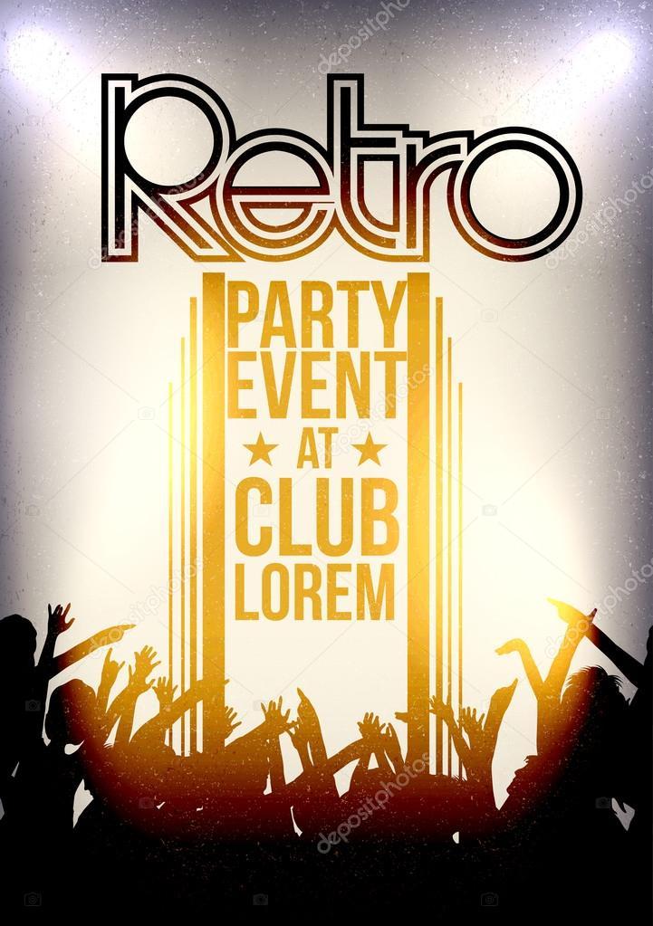 Retro Party Invitation Poster Design - Vector Illustration — Stock ...