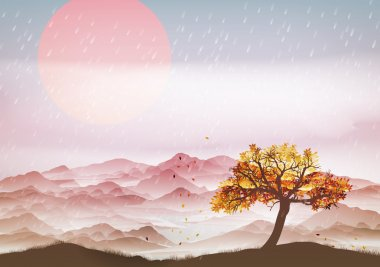 Autumn landscape with wind and leaves - Vector Illustration clip art vector